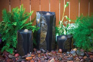 Double Textured Basalt Cored Water Columns