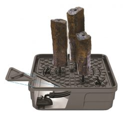 """10"""" Diameter x 24"""" H * 10"""" Diameter x 30"""" H * 10"""" Diameter x 36"""" H * *each column is hand crafted so sizes will vary slightly Kit Includes: Natural Basalt Columns Set of 3 - 24"""", 30"""", 36"""" (58062) AquaBasin® 45 (78224) (1) Can Pond and Waterfall Foam Sealant (21053) Pre-Cut Kink-Free Pipe 3/4"""" x 10' Ultra® 2000 Water Pump (91010)"""