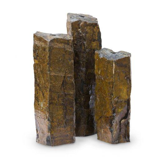 Natural Mongolian Basalt Stone Fountain Columns - Set of 3